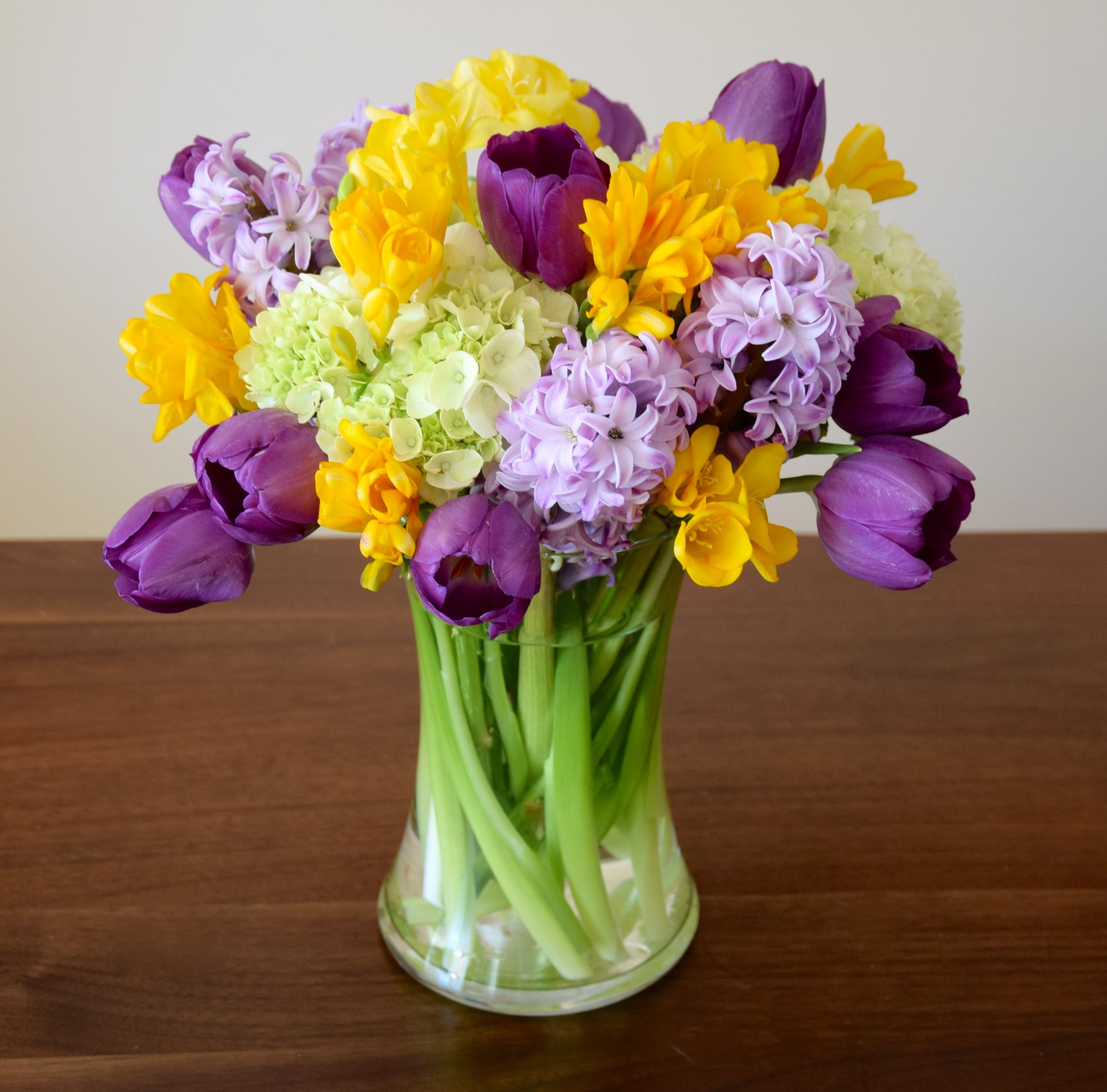 Colorful arrangement with hydrangeas hyacinths tulips and freesia colorful arrangement with hydrangeas hyacinths tulips and freesia izmirmasajfo