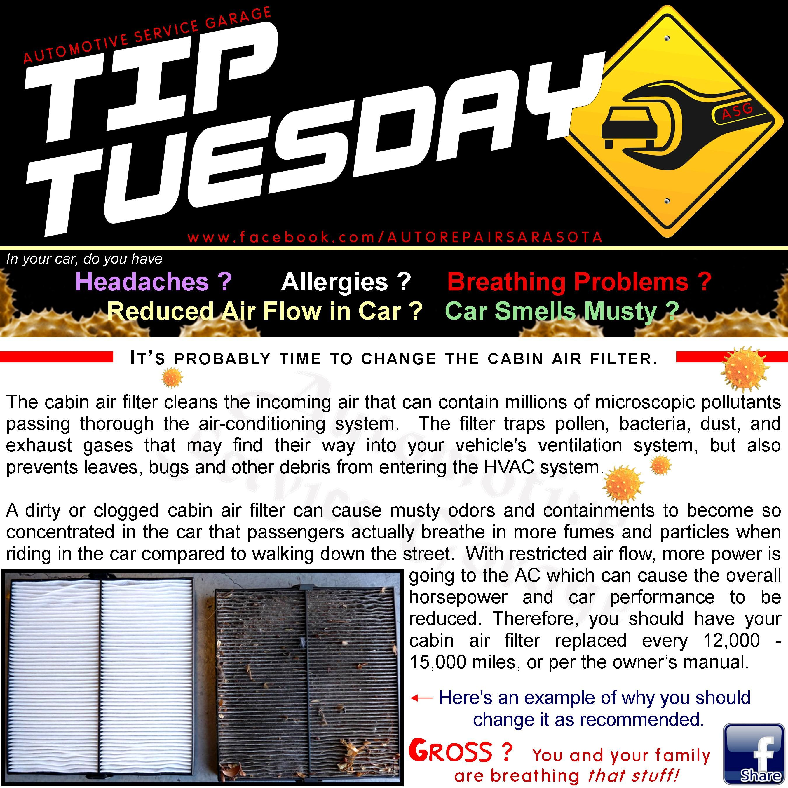 Car Care Tip Change your cabin air filter (AC filter) to