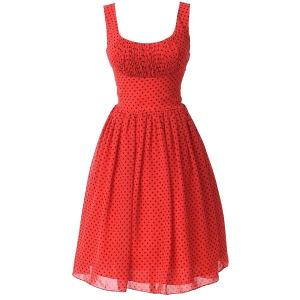 Unique Vintage Red & Black Polka Dot Barcelona Chiffon Swing Dress ($128) ❤ liked on Polyvore featuring dresses, short dresses, vintage black dress, red dress, vintage cocktail dress, black mini dress and vintage dresses