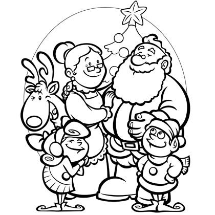 Santa 39 s family coloring page color in this cute christmas for Santa coloring pages pdf