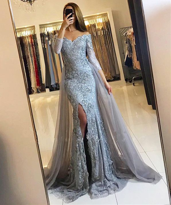 14449b1965a Elegant Off The Shoulder Lace Mermaid Evening Dresses With 3 4 ...