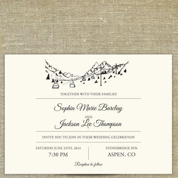 19th century Vintage Chamonix ski poster wedding invitation - invitation non formal