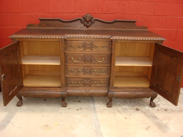 French Antique Carved Chippendale Sideboard Server Cabinet Antique
