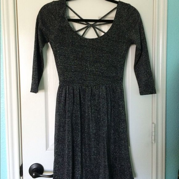 Wet Seal / Sparkly Fit &Flare Dress Fit & Flare with crisscross detail in the back. Looks like it's sparkly but not glitter. 3/4 length sleeves. Worn once. Wet Seal Dresses Long Sleeve