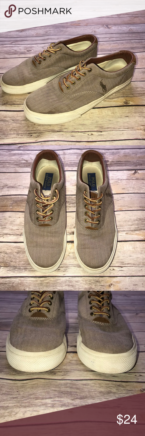 9a8e428d2060 Mens Polo Ralph Lauren Vaughn Canvas Shoes Brown canvas slip on shoes in  very good condition