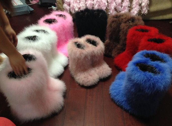 Women Fox fur Warm Snow Boots Furry Fuzzy Fur shoes Warm winter casual Hot sale#
