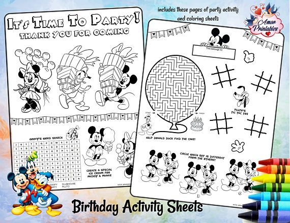Mickey Mouse Clubhouse  Birthday Activity  Coloring Pages