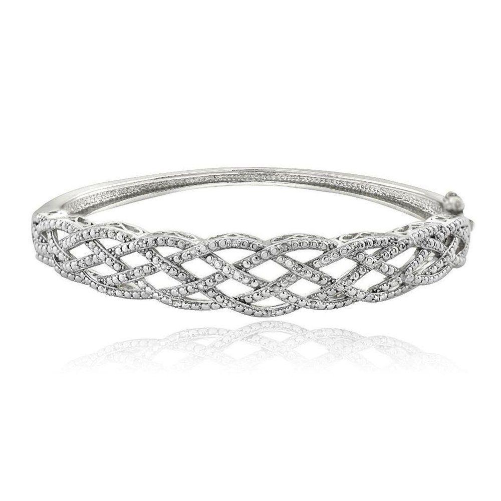Brass simulated diamond weave bangle bracelet brass simulated