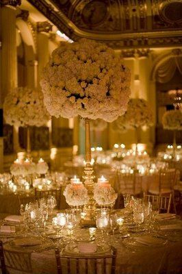 Having Centerpieces Almost Like This At Our Wedding But With Candelabras Instead The Same Ball Of White Flowers On Top So Gorgeous