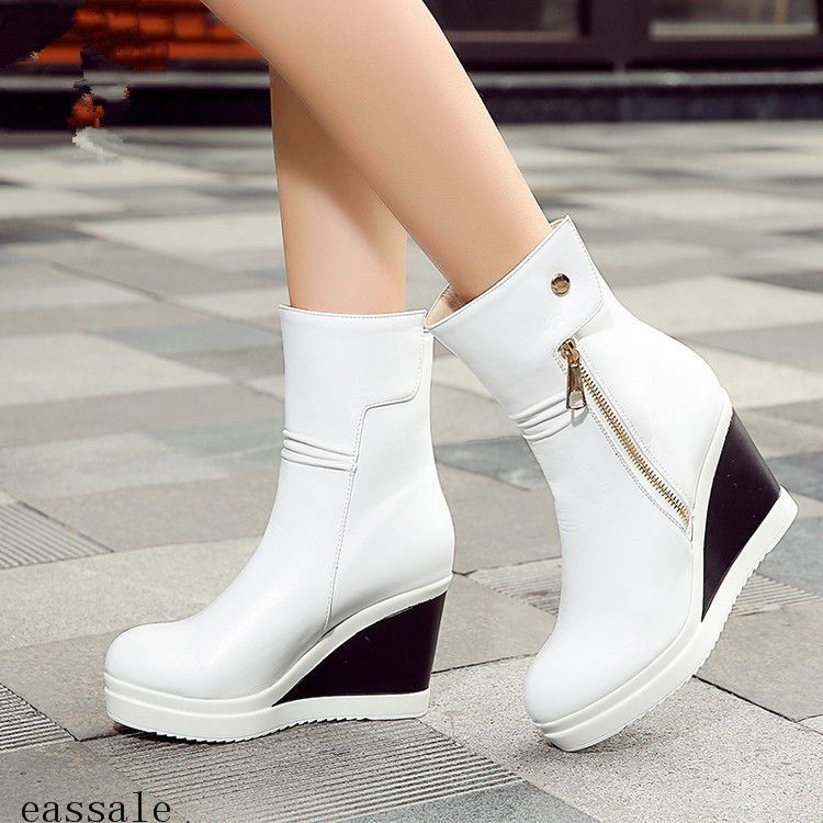 Womens Fashion Side Zipper Wedge High Heels Platform Sport Athletic Ankle  Boots