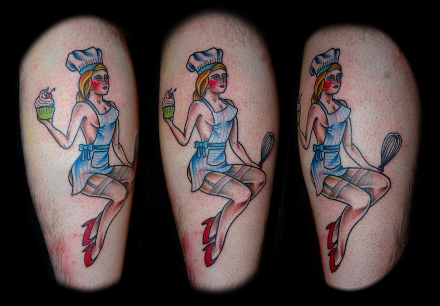 Pin up baker girl tattoos pin up girl tattoos are for Traditional pin up tattoos