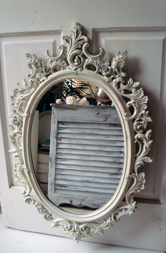 Antique White Oval Ornate Vintage Mirror, Large French Farmhouse Distressed Mirror, Shabby French Cottage Home Decor, Up Cycled