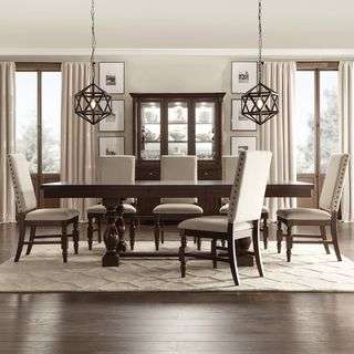 Verdiana Rich Brown Cherry Finish Extending Dining Set