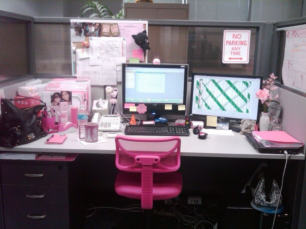 Diy office cubicle door - Desk Decorating Ideas Workspace Cute Cubicle Decorating Ideas Work Pink Chair White Desk Storage Drawer Cool