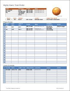 create a printable basketball roster with this excel template