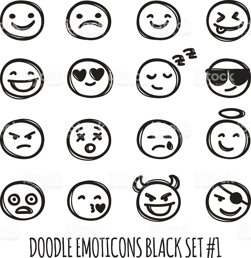 Cute Black And White Emojis