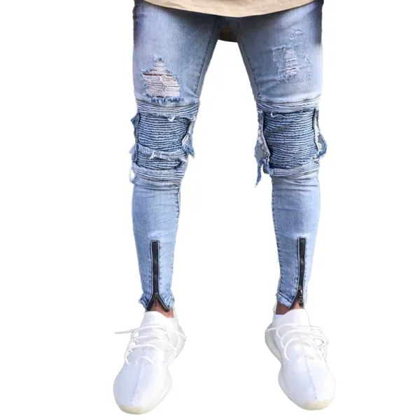 Brand Designer Slim Fit Ripped Jeans Ripped Jeans Men Slim Fit Ripped Jeans Mens Jeans