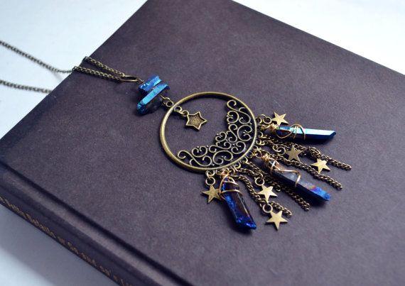 Dreamcatcher Necklace Titanium Quartz Points SALE