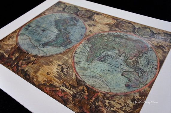 Commission hand painted old world map antique globe map matted commission hand painted old world map antique globe map matted painting print by fae factory artist dr franky dolan wall art print gumiabroncs Image collections