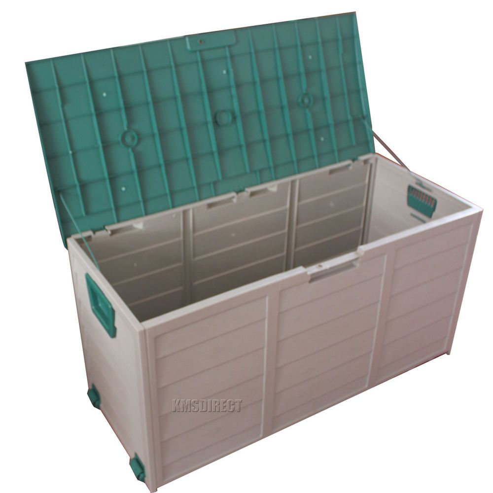 Garden Plastic Storage Chest Cushion Shed Box With Lid Wheels Case Container New  sc 1 st  Pinterest & Garden Plastic Storage Chest Cushion Shed Box With Lid Wheels Case ...