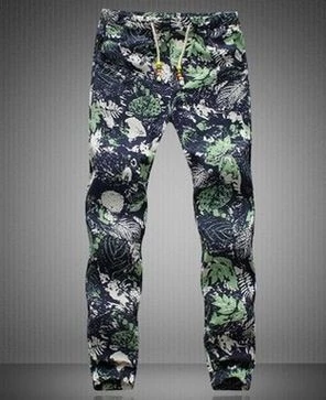 Frieed Mens Jogger Cotton Pant Flower Printed Drawstring Trousers