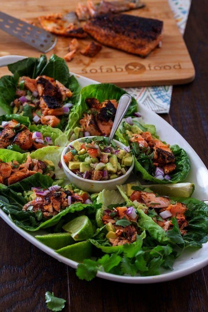 Salat Wraps   - Recipes to try! marinade salmon salmon - -Keto Lachs Salat Wraps   - Recipes to try