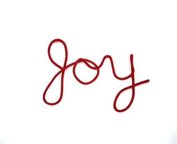 Red JOY Christmas Wall Hanging Cursive Word by InJoyEmporium