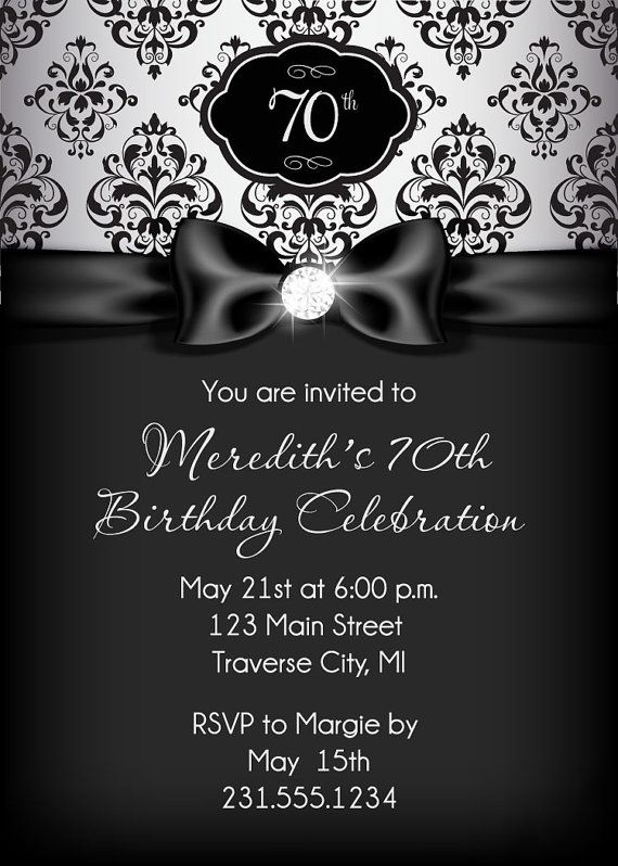 Diamond Ribbon Birthday Invitation