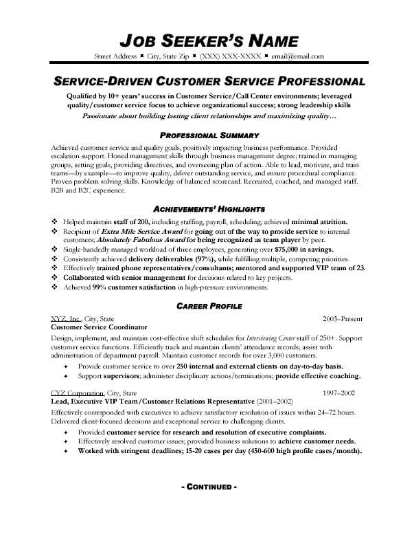 Customer Service Resume Sample Summary Examples Profile Statement