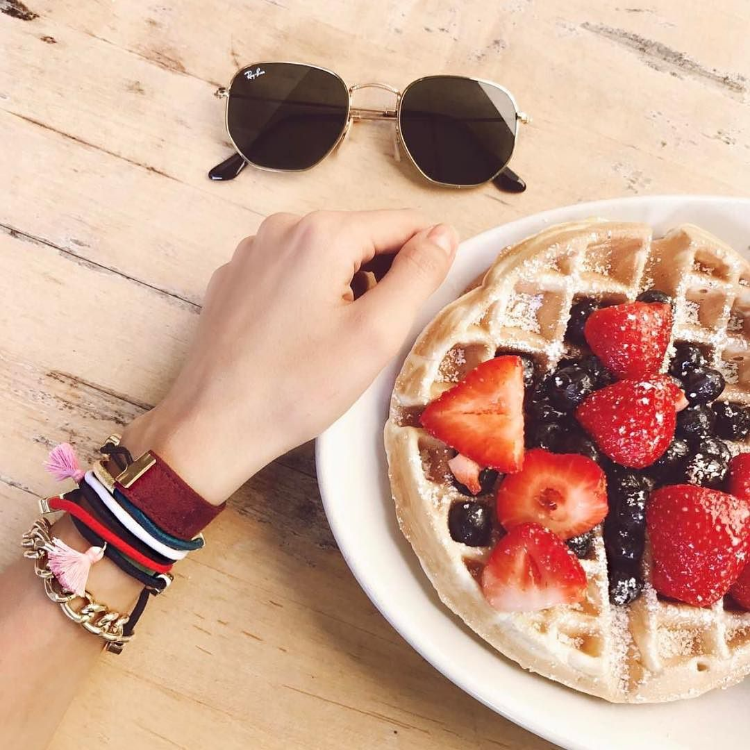 Sunday Brunch & Hair Stacks !!!! . . . . . . . . . . . #lovesparkleshine #loveandpieces #sunday #brunch #regram #weekend #waffles #fruit #berries #local #Penelope #tassels #bylilla #handmade #miamibeach #obsessed #raybans #yes #ootd #lotd #fashionblogger