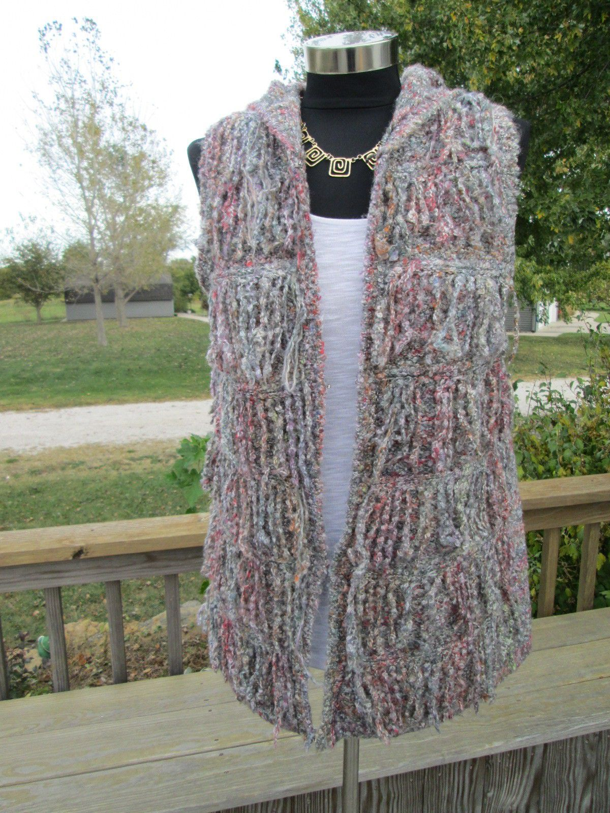 Ethyl Fringe Sweater Vest L Boucle Yarn Knit Hooded H31mul | Knit ...