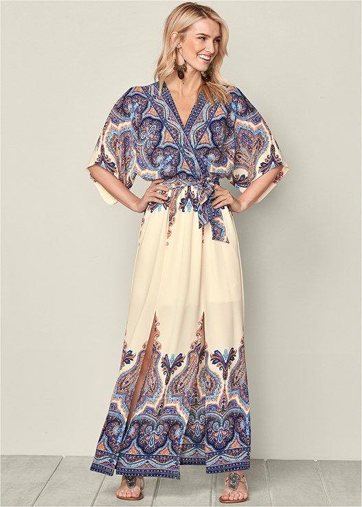 94a5b4a788a Venus Women s Kimono Sleeved Maxi Dress - White