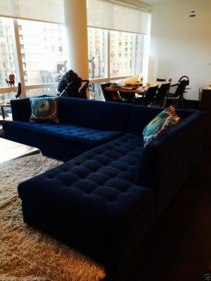 21 Different Style To Decorate Home With Blue Velvet Sofa Design