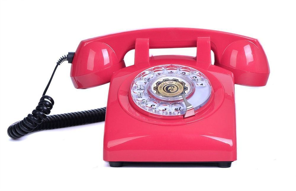 Retro Red Rotary Dial Phone 1960s Style Vintage Home Corded ...