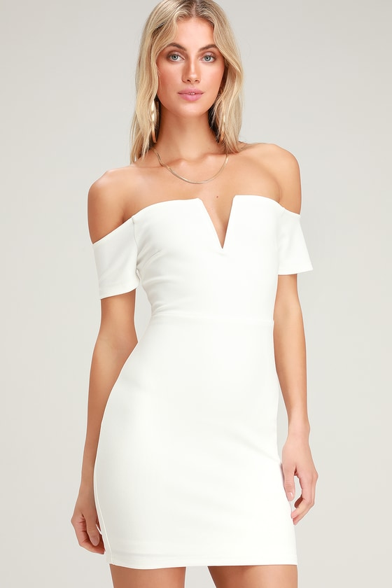 13b88fb939b4 Lulus | Cheers to This White Off-the-Shoulder Bodycon Dress | Size Small |  100% Polyester