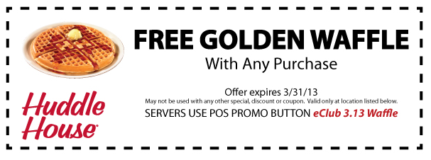 graphic regarding Huddle House Coupons Printable referred to as Free of charge waffle with any get at Huddle Space coupon by way of The