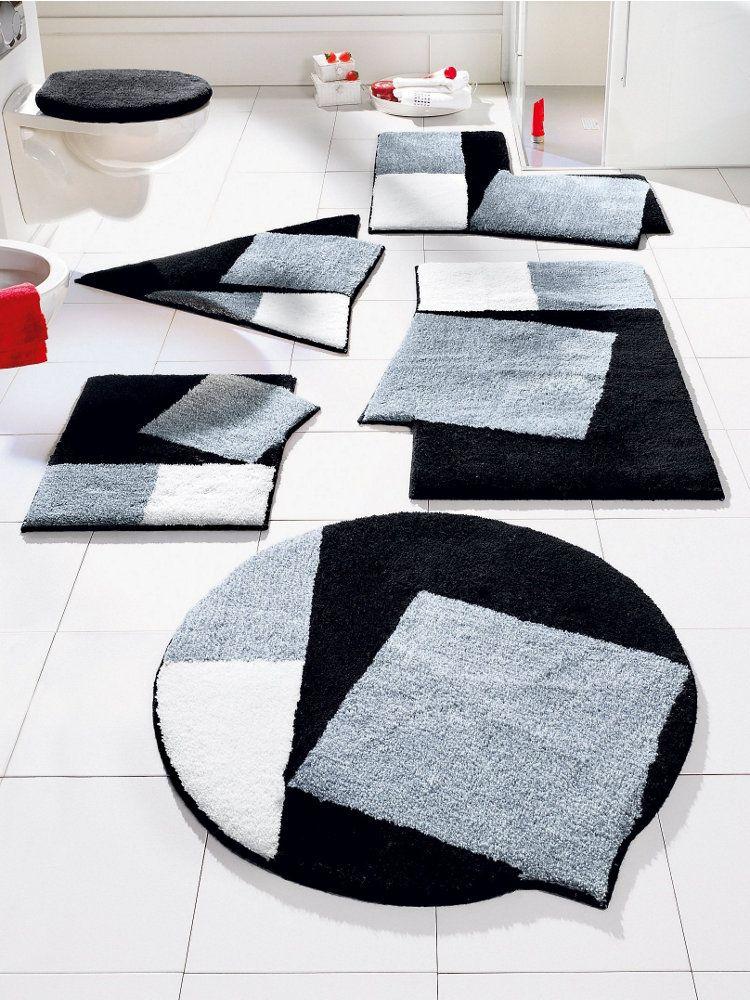 GRUND Tapis De Bain Noir Et Blanc Formes Originales Un Vrai - Tapis salle de bain original