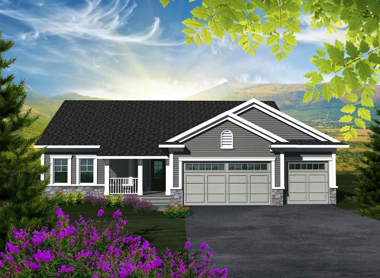 house plan 96100 | ranch plan with 1501 sq. ft., 3 bedrooms, 2