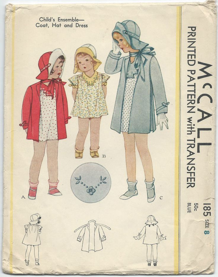 1930s Vintage Sewing Pattern McCall 185 Childs Coat One Piece Dress ...
