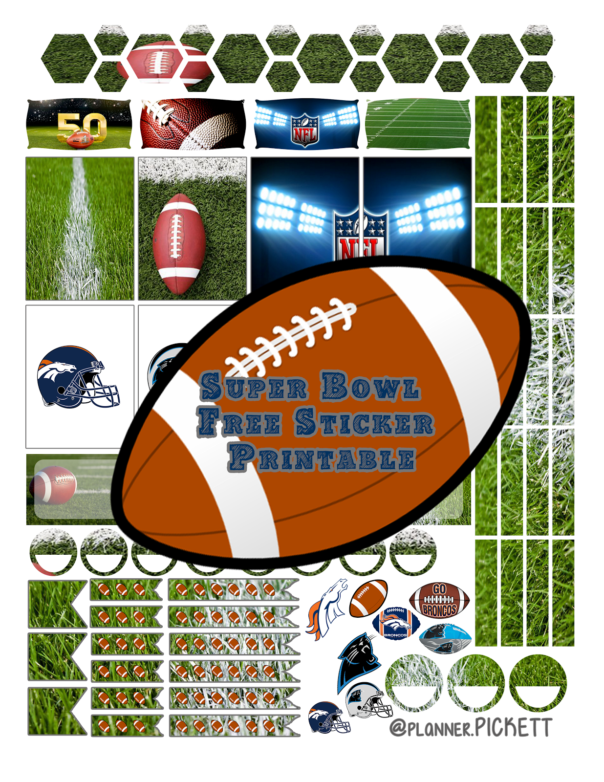 Printable superbowl stickers @planner.PICKETT: Super Bowl 50 Free Planner Stickers