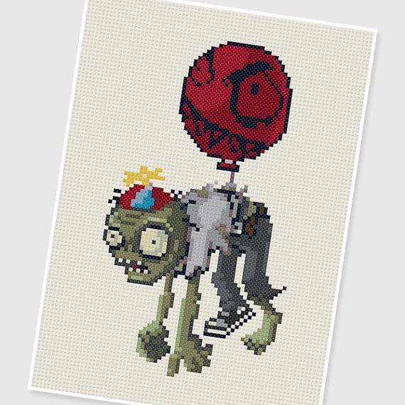 Pdf cross stitch pattern balloon zombie plants vs