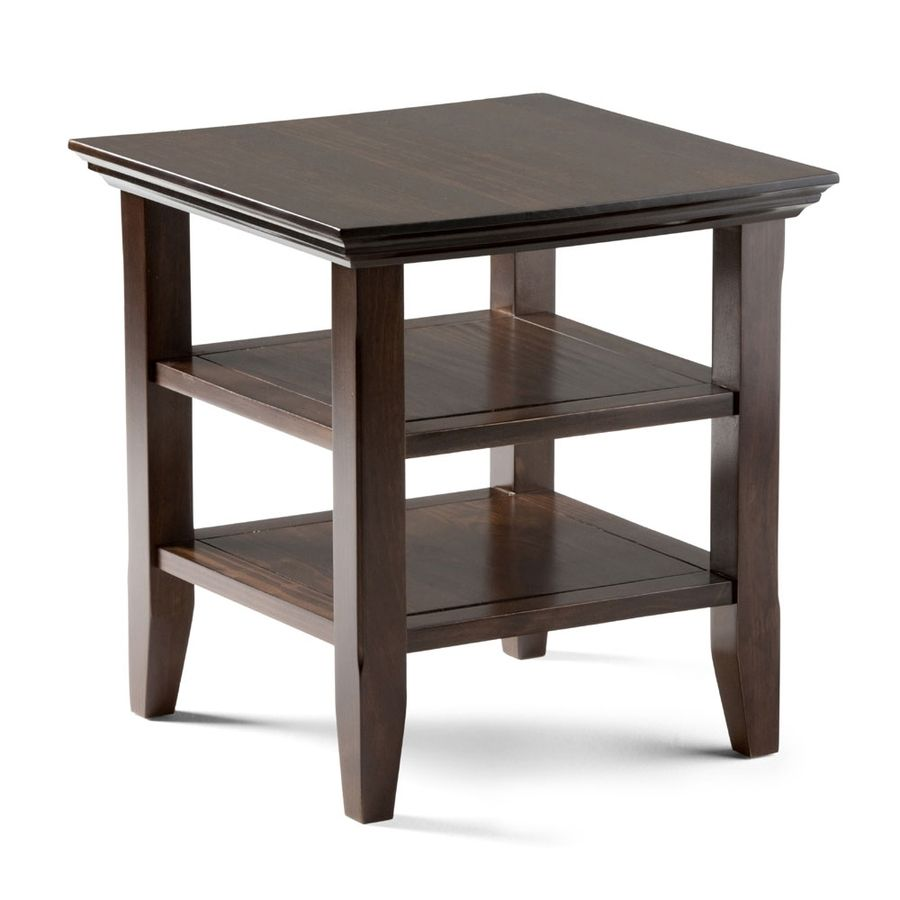 Simpli Home Acadian Tobacco Brown Wood Casual End Table End