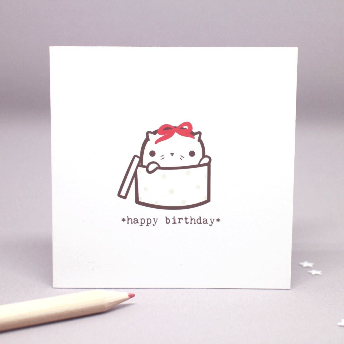 A Little Cat Says Happy Birthday! This Mini Square Greeting Card Is Blank Inside, And Comes With