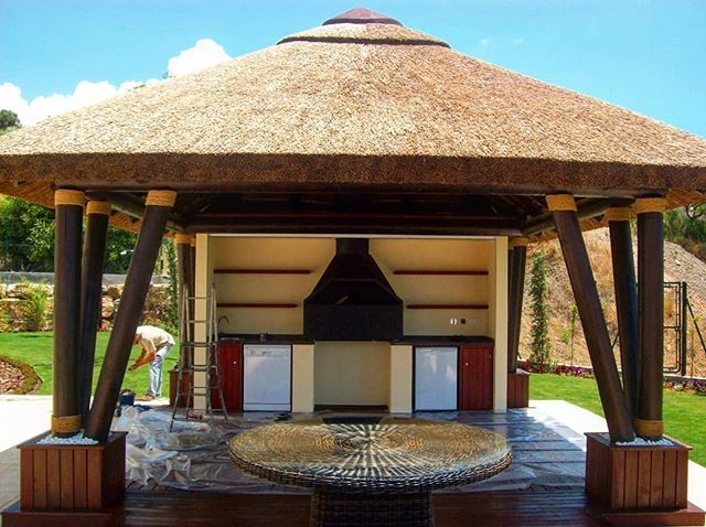 Our Newly Completed Customized Outdoor Area Now For The Finishing Touches House Plan Gallery House In The Woods Bali Huts