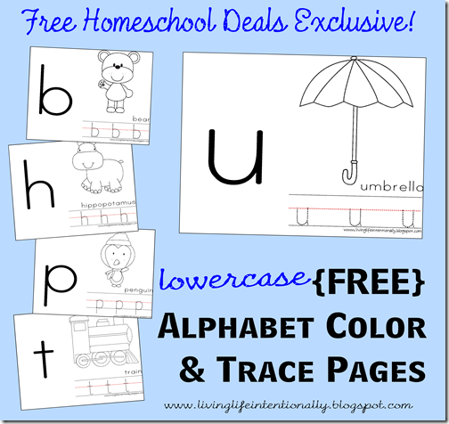 Free Lowercase Alphabet Color and Trace Pages #homeschool