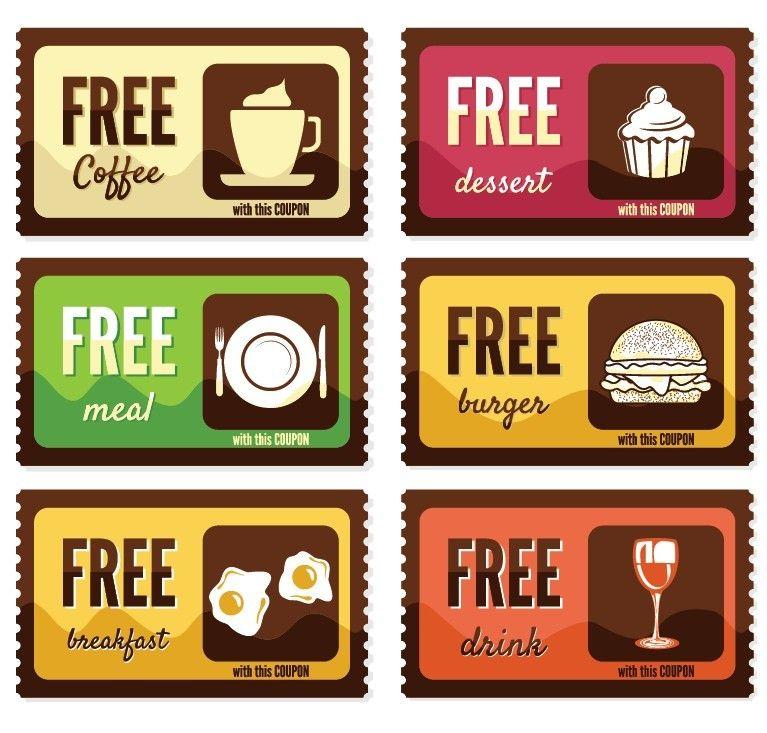 Free Vintage Free Food Coupon Sticker Labels Vector design idea