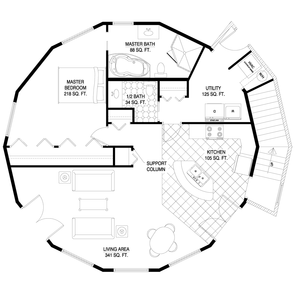 Circular home foor plan very cool 2 story savannah for Circular house plans