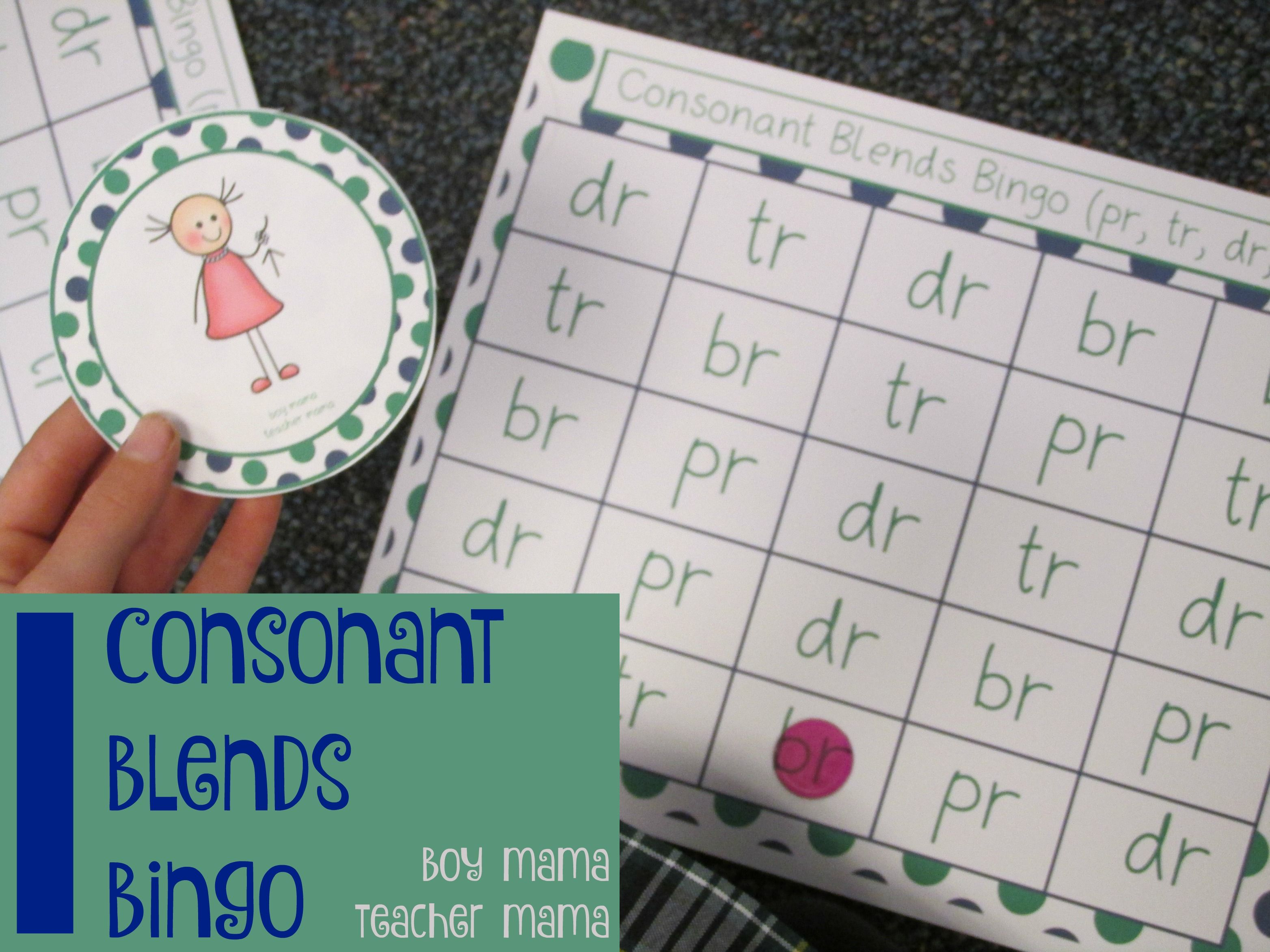 Teacher Mama Consonant Blends Bingo Pr Br Tr Dr After School Linky