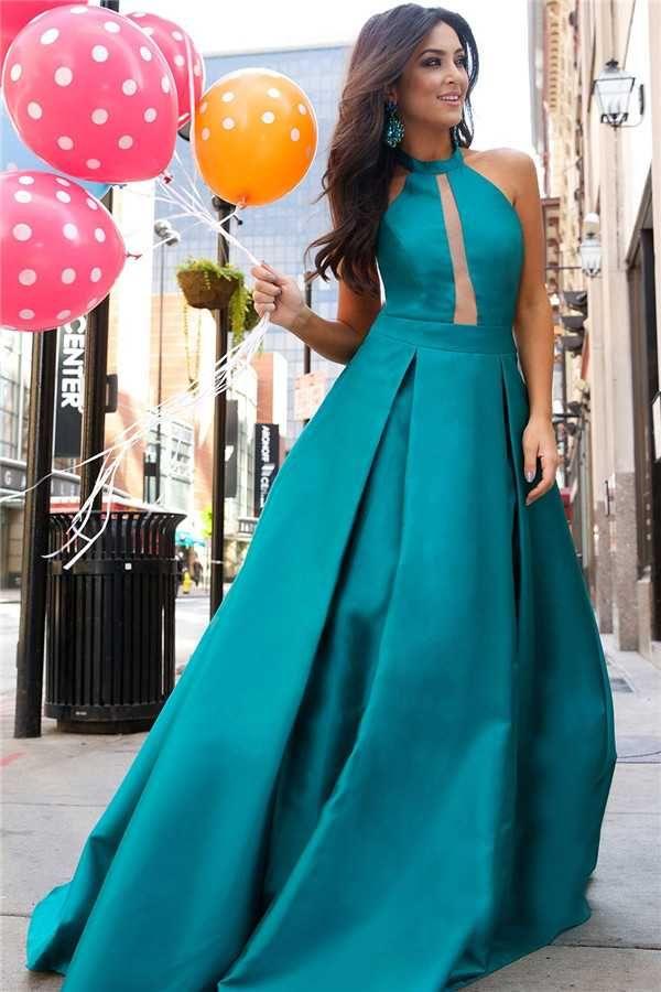 Halter Neck A Line Jovani 24903 Long Peacock Prom Dresses 2017