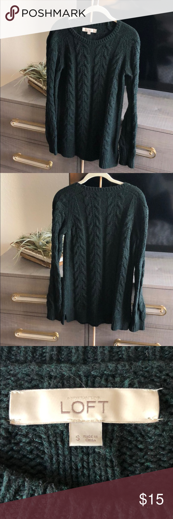 c8bf02e3df5a6e Dark green knitted sweater Beautiful cable knit sweater LOFT Sweaters